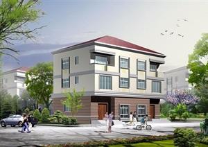 3层双拼中式别墅设计cad方案带效果图