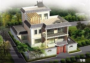 3层欧式农村房屋cad方案图纸带效果图