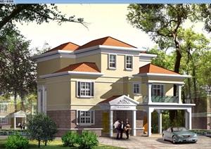 3层独栋家庭别墅cad施工图带效果图