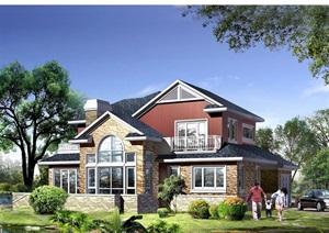 2层小别墅cad方案图纸带效果图