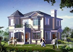 2层欧式小别墅建筑cad方案图带效果图