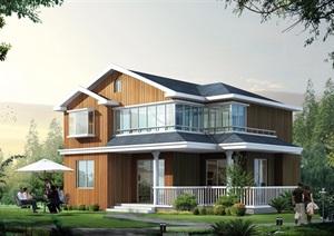 2层乡村中式别墅cad方案图纸带效果图