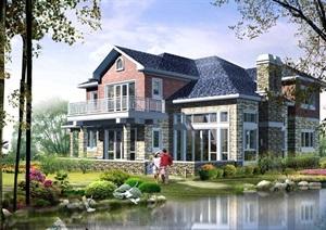 2层欧式小别墅cad方案图纸带效果图