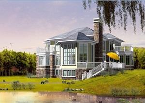 1套乡村2层半小别墅cad方案带高清效果图
