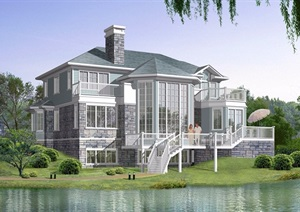 1套乡村2层半别墅cad方案带高清效果图