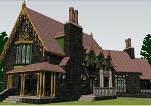 现代主义风格哥特式庄园建筑房子SU(草图大师)模型