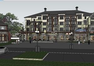 欧式风格精细的商业街住宅楼SU(草图大师)模型