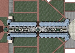 现代主义风格欧式商业街模型设计图