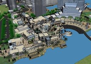 欧式商业街综合体沿海城市SU(草图大师)规划模型