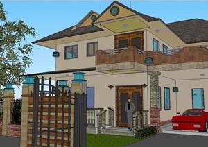 现代主义风格欧式住宅别墅建筑的SU(草图大师)模型