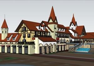 瑞士风格商业街小镇模型