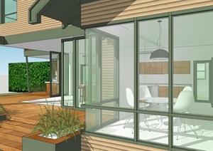 香格里拉风格欧美别墅住房建筑SU(草图大师)模型