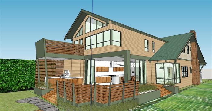 香格里拉农村风格别墅住房原创su欧美[建筑]三模型别墅图片