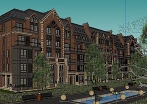 现代主义风格英式多层小区建筑体模型
