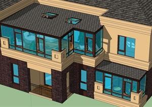 法式朝阳阳光房多层建筑模型