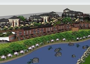 现代主义风格度假旅游区规划设计SU(草图大师)模型
