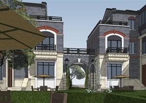 民国合院别墅住宅建筑模型