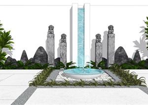新中式景观小品 跌水景观 片石景墙 植物组合SU(草图大师)模型