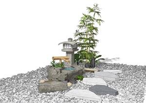 新中式景观小品 跌水景观 石灯竹子 碎石组合SU(草图大师)模型