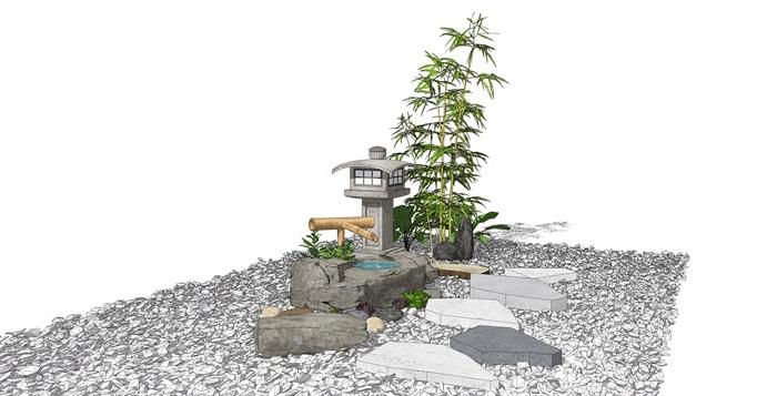 新中式景觀小品 跌水景觀 石燈竹子 碎石組合su模型(2)