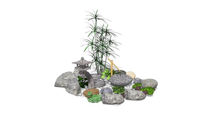 新中式景觀小品 跌水景觀 石頭植物組合su模型(1)