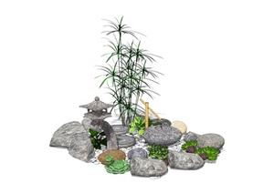 新中式景观小品 跌水景观 石头植物组合SU(草图大师)模型
