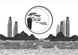 新中式景观小品 片石景墙 石板 栓马柱组合SU(草图大师)模型
