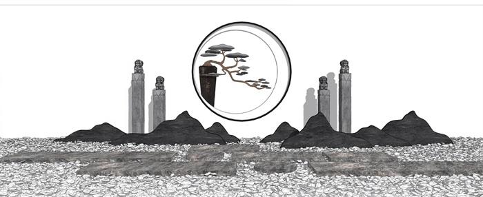 新中式景觀小品 片石景墻 石板 栓馬柱組合su模型(1)