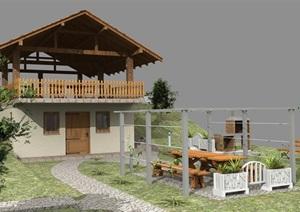 葡萄酒窖小木屋SU(草图大师)模型