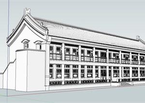 古建筑多层报恩楼建筑SU(草图大师)模型