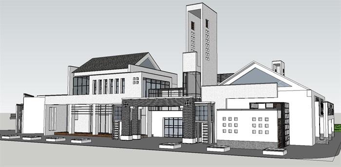 新中式风格建筑设计su模型房子[原创]