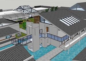中式旅游多层仿古建筑SU(草图大师)模型