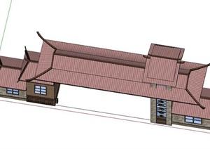 古典中式风格入口大门模型