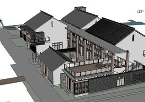 现代中式风格建筑模型设计图