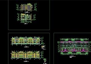 欧式风格详细的连排别墅cad方案设计图