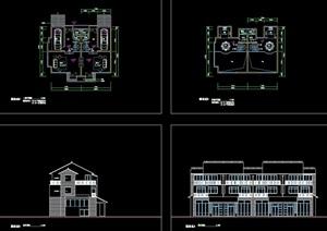 连排别墅建筑设计cad方案图
