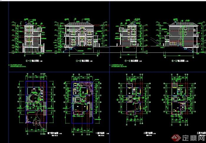 欧式别墅多层风格建筑cad别墅图盐城杨桥方案图片