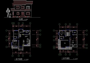 简单的别墅cad方案图