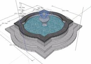 水池喷泉详细设计SU(草图大师)模型