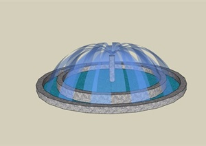 现代详细的喷泉水池水景设计SU(草图大师)模型