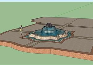 现代独特的喷泉水池景观设计SU(草图大师)模型