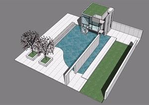 水池水景素材设计SU(草图大师)模型
