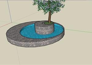 现代详细的圆形水池树池设计SU(草图大师)模型