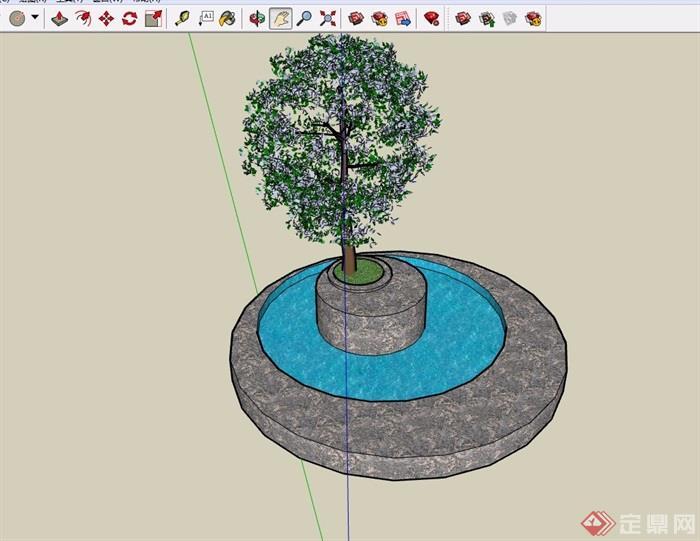 现代详细的圆形水池树池设计su模型