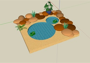 园林景观节点水池设计SU(草图大师)模型