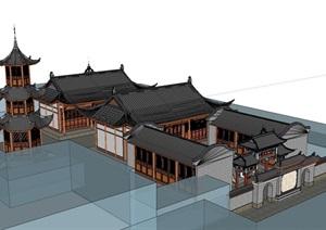 中式风格古建寺庙SU(草图大师)模型