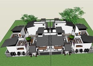 中式风格合院别墅建筑模型
