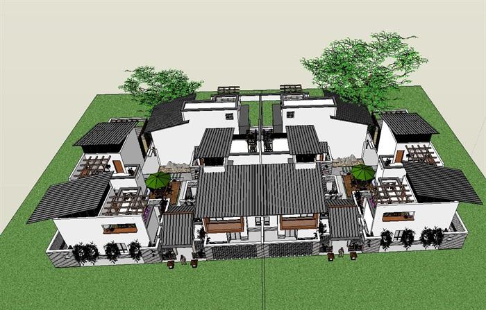55-中式合院別墅建筑模型(1)