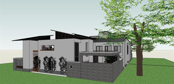 55-中式合院別墅建筑模型(3)