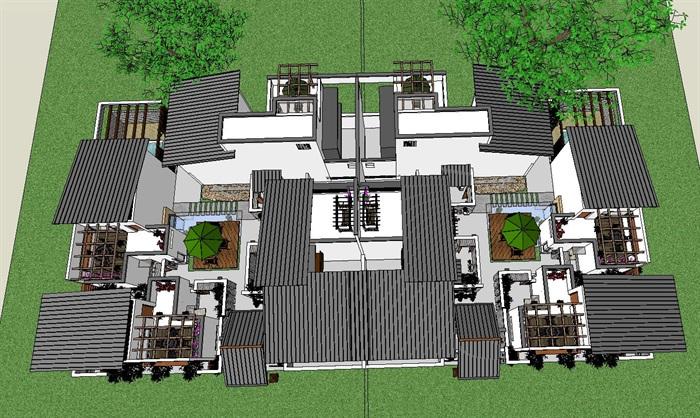 55-中式合院別墅建筑模型(5)